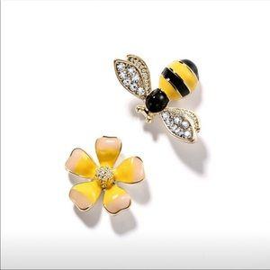 Handmade 925 Sterling Silver Bee & Flower Earrings